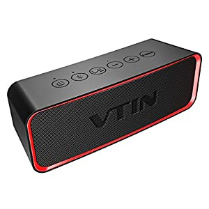 Bluetooth Speaker, VTIN Portable Waterproof Outdoor Wireless Phone Speakers, Stereo HD Sound, Loud Beat, Exclusive Bass+ Tech, IPX6 Waterproof, Built-in Mic for Home, Travel, Party, Shower, Beach