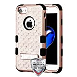 ShopAegis - [HYBRID RHINESTONE] [Rose Gold/Black] Sparkle Web Pattern Shockproof Armor Phone Cover Case for Apple iPhone 8/7