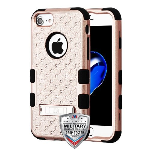 ShopAegis - [HYBRID RHINESTONE] [Rose Gold/Black] Sparkle Web Pattern Shockproof Armor Phone Cover Case for Apple iPhone 8/7 by ShopAegis