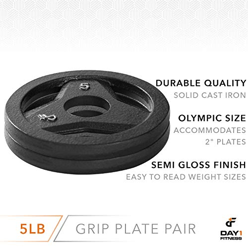 """Day 1 Fitness Cast Iron Olympic 2-Inch Grip Plate for Barbell, 5 Pound Set of 2 Plates Iron Grip Plates for Weightlifting, Crossfit - 2"""" Weight Plate for Bodybuilding by Day 1 Fitness (Image #2)"""