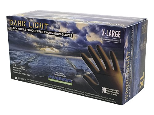 (Adenna DLG678 Dark Light 9 mil Nitrile Powder Free Exam Gloves (Black, X-Large) Box of 90)