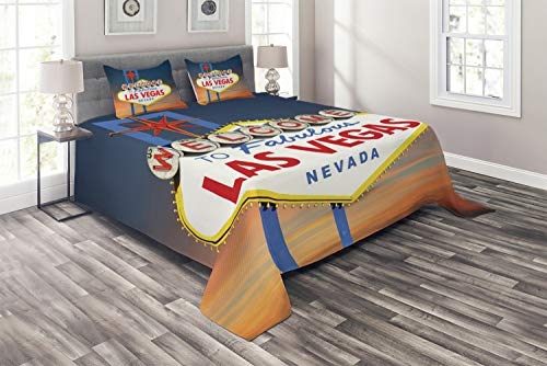 Ambesonne USA Coverlet Set King Size, Welcome to Fabulous Las Vegas Nevada Sign Detailed Picture Traveler Urban Road Design, 3 Piece Decorative Quilted Bedspread Set with 2 Pillow Shams, Navy Red