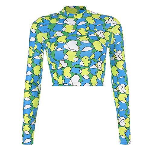 Women Kaleidoscope Print Long Sleeve t Shirt Coloful Heart Crop Tops
