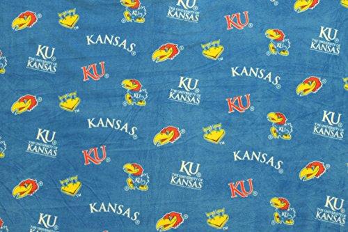 Kansas Jayhawks Blue Anti-Pill Polar Fleece - Plush Fabric Polyester 13 Oz 58-60