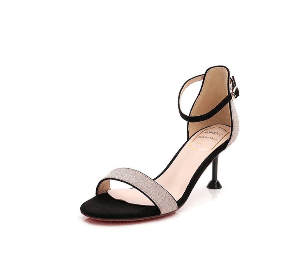 Sandalias de Mujer de Verano Tine Heel Zapatos de Tacón Alto Coreano Zapatos de Lentejuelas 37 EU|Pink