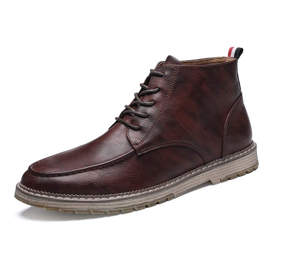 HYLFF Männer Low Heel Stiefeletten Winter Warme Lederschuhe Casual Lace Up Schuhe Mode Retro Arbeitsschuhe Martin Schuhe Outdoor Stiefel