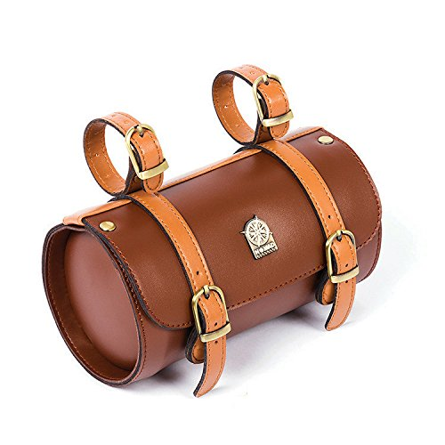Nomad Comfortable Soft Vintage Bicycle Saddle Tail Handlebar Tools Bag, Cylindrical, Handmade