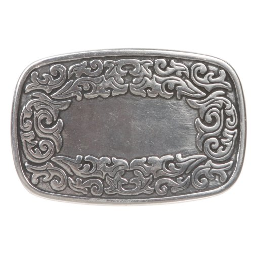 Western Engraving (Western Flower Engraving Oval Silver Belt Buckle Color: Silver)