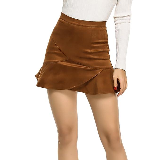 Faldas Mujer Elegantes Vintage Gamuza Faldas Cortas Color Sólido Talle Alto  Con Volantes Una Línea Mini Falda Otoño Invierno  Amazon.es  Ropa y  accesorios aa48f2c8d187