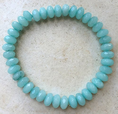 JP_Beads Stunning Handmade Genuine Brazilian Aquamarine semi Precious Gemstone Faceted 5x8mm Bracelet