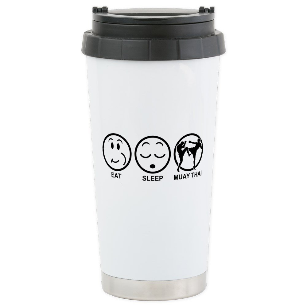 CafePress - Eat Sleep Muay Thai Stainless Steel Travel Mug - Stainless Steel Travel Mug, Insulated 16 oz. Coffee Tumbler
