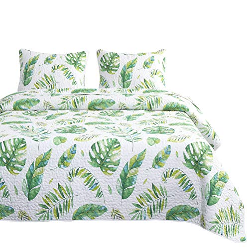 - Wake In Cloud - Tree Leaves Quilt Set, Green Monstera Leaves Pattern Printed on White, 100% Cotton Fabric with Soft Microfiber Inner Fill Bedspread Coverlet Bedding (3pcs, King Size)