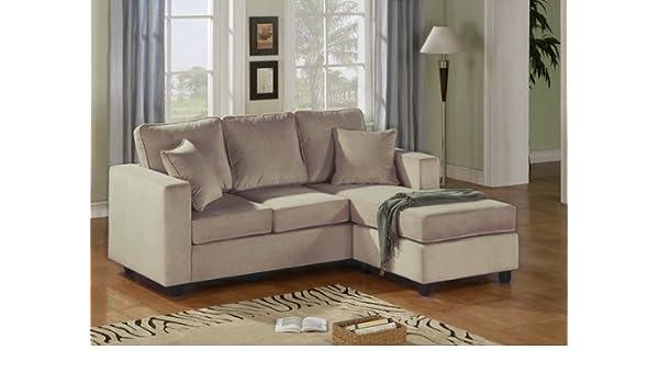 Amazon.com: 2pc. Reversible Chaise Sectional Sofa Mushroom ...