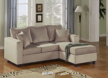 Enjoyable Amazon Com 2Pc Reversible Chaise Sectional Sofa Mushroom Machost Co Dining Chair Design Ideas Machostcouk