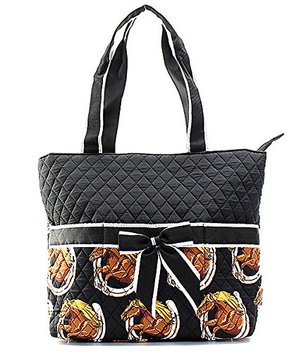 N.Gil Quilted Horse Shoe Print Diaper Bag 3 Piece Set -