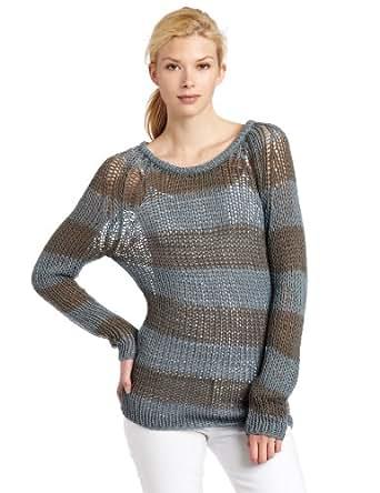 Ever Womens Roatan Stripe Sweater, Soot/Indigo Stripe, Large