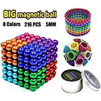 Building Blocks Fidget Gadget Toys for Stress Relief Silver Color Set of 216 Magnetic Balls Fun Stress Relief Desk Toy for Adults 216pcs 5mm
