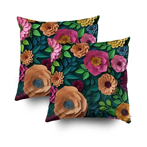 Crannel Double-Sided Printing Pillowcase 18X18 Inch 2PCS Throwing Cushion Render Digital Colorful Paper Flowers Spring Summer Background Wallpaper Invisible Zipper Square Decorative Home Sofa