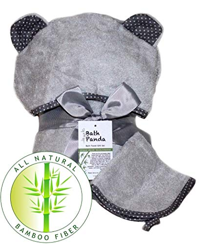 Premium All Natural Bamboo Hooded Bath Towel Gift Set (Grey/Grey) with Free washcloth - Ultra Soft, Super Absorbent, Antibacterial, Hypoallergenic - Baby Shower and Toddler Gifts