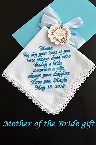 Wedding gift for Mom from daughter, Mother of the Bride, Wedding keepsake Personalized hankies Embroidered hankie Wedding favours