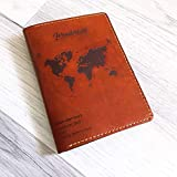 Wanderlust defination World map Personalized leather handmade passport cover holder wallet custom travel gifts accessories