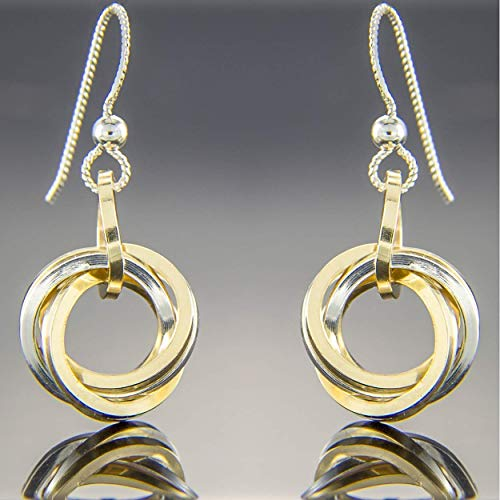 Mixed Metal Multi Circle Two Tone Knot Dangle Earrings in Sterling Silver and 14K Yellow Gold Fill