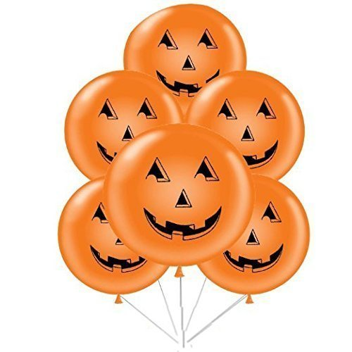Halloween Pumpkin Face Balloons 36 Inch Premium Latex Orange Pkg/12 -