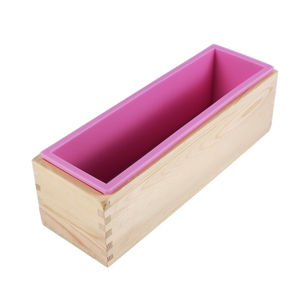 Rectangle Handmade Silicone Soap Mold with Wooden Box - DIY Cake Bread Bake Mould Making Tool sococoCA