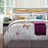 EverRouge 8-Piece Sparrow Cotton Bed in a Bag, King, White/Red