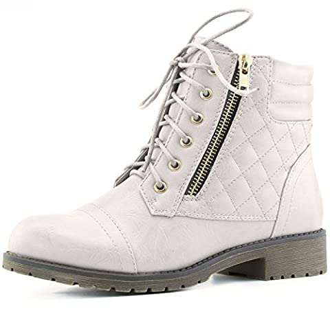 DailyShoes Women's Military Lace Up Buckle Combat Boots Ankle High Exclusive Credit Card Pocket, Ivory White Pu, - Boots