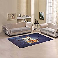 AnnHomeArt Space Cat Area Rug Modern Carpet 5x33