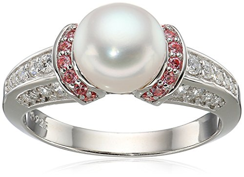 Platinum Plated Sterling Silver Freshwater Pearl with Fancy Pink Swarovski Zirconia Accents Ring, Size 7