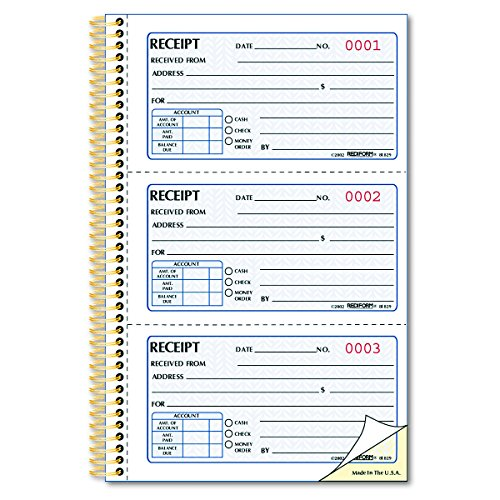 Rediform  Money Receipt Book, Gold Standard, Two-Part  Carbonless,  8.5 x 5.5, 3 per Page (Rediform Business Receipt Book)