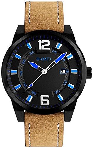 Men's Analog Brown Leather Black Case Casual Watch Quartz Wrist Watch for Men 30M Waterproof, Auto Date (Blue) ()