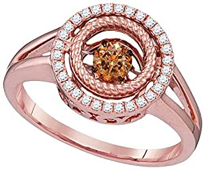 Size 5 - 10k Rose Gold Round Chocolate Brown Diamond Moving Twinkle Ring 3/8 Cttw