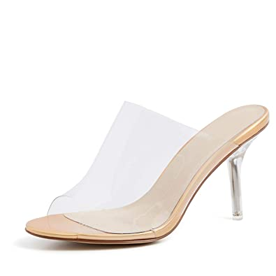 8c96d9a0ad7 Amazon.com | NIPLA Transparent High Heels Slippers Women Peep Toe ...