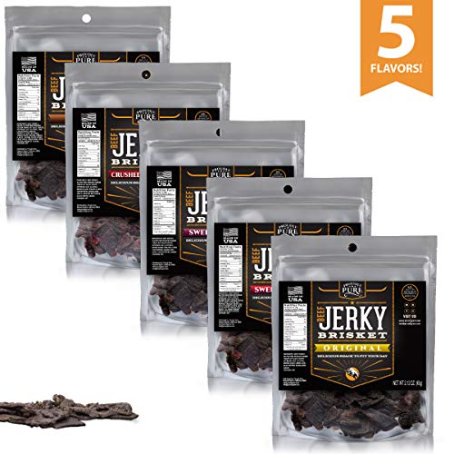 Beef Jerky Brisket Proudly Pure Tender Cut Strips Healthy Snack Gourmet Food Premium Dried Steak Real Meat High Protein Add On All Natural Gluten Free Paleo & Keto Friendly (Variety, 5 Pack)