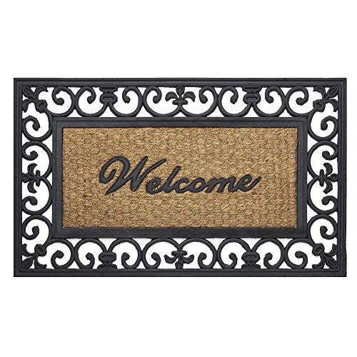 Mat Love Door (Achim Home Furnishings WRM1830FL6 Fleur De Lis Wrought Iron Rubber Door Mat, 18 by 30
