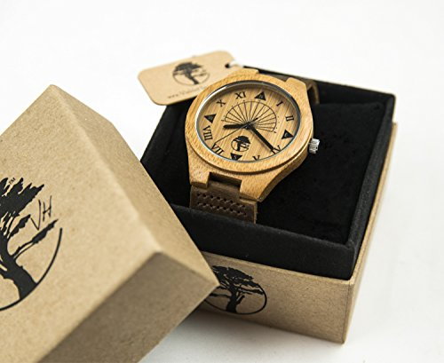 Viable Harvest Men's Wood Watch, Unique Sundial Design, Natural Bamboo , Genuine Leather and Gift Box (brown)