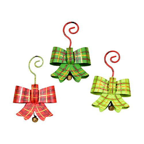 The Round Top Collection Plaid Bow Ornaments- Asst. 6 - Metal