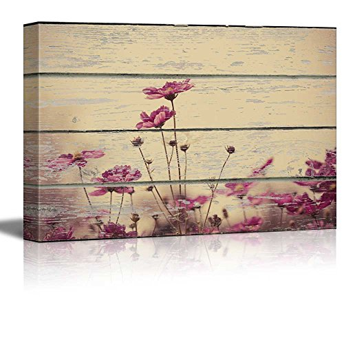 wall26 - Canvas Wall Art - Wild Flower on Vintage Wood Textured Background - Rustic Country Style Modern Giclee Print Gallery Wrap Home Decor Ready to Hang - 12