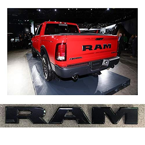 SENYAZON Ram Emblem Tailgate RAM Letters Badge Nameplates Car Sticker for Dodge Ram Accessories (Carbon ()