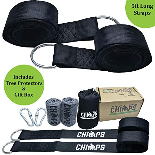 Tree Swing Straps 8Pc Heavy Duty Kit holds 2100 lbs. incl 2x5Ft Adjustable long Swing Straps,2 Stainless Steel Screw Lock Carabiners,2 Tree Protectors best for Tree Swing Hummocks,Quick n Easy Install