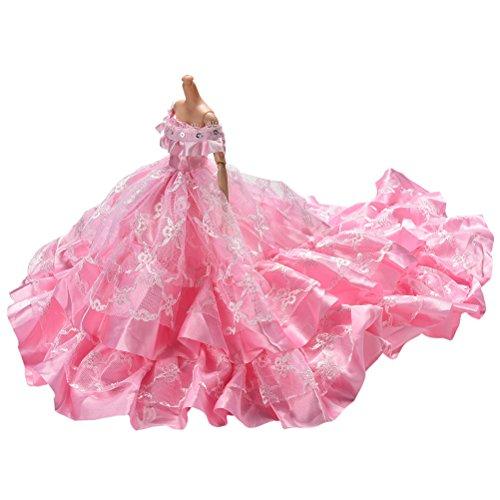 JiaUfmi 1 Pcs Pink Dress Rapunzel Party Dress Costume Wedding Gown Dress for Dolls]()