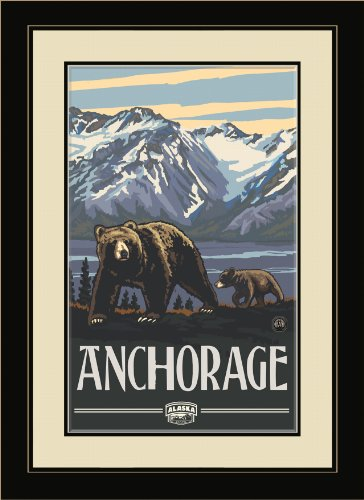 Northwest Art Mall PAL-0266 FGDM AKG Anchorage Alaska Grizzlies Framed Wall Art by Artist Paul A. Lanquist, 16 by - Anchorage Malls