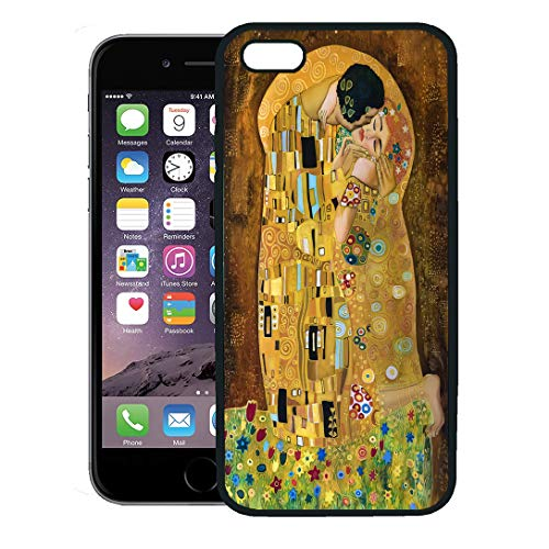 Emvency Phone Case for iPhone 8 Plus case Cover,Brown Kiss Klimt Inspired Abstract Batik Painting Grounds of Gustav Purple Modern,Rubber Border Protective Case,Black