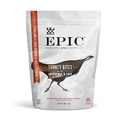 Epic Jerky Bites, 100% Natural, Turkey, Cranberry & Sage, 2.5 ounce, 8 Count