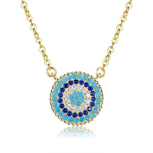 (Tongzhe Round Blue Evil Eye Pendant Necklace Sterling Silver Gold Plated w/Cubic Zirconia and 16