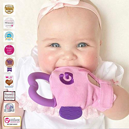 Gummee Glove Multi-Award Winning Baby Teething Mitten Premium Quality 100% Cotton Detachable Teether Ring and Travel Bag - 3 to 6 Months - Pink - Undroppable - Soothe Babies Painful Gums Naturally -