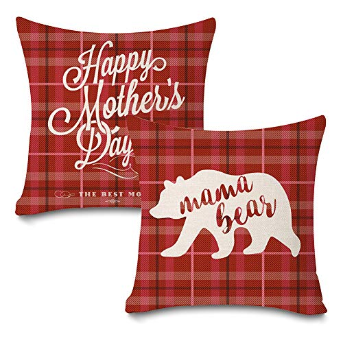 Faromily Set of 2 Mother's Day Buffalo Plaids Throw Pillow Covers Happy Mother's Day Mama Bear Home Decro Cotton Linen Throw Pillow Case Cushion Cover 18